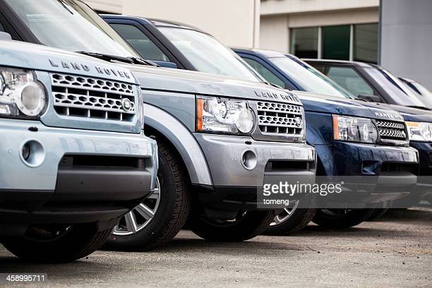 New Land Rover Vehicles in a Row