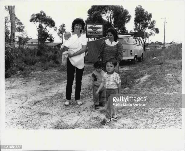 New Landcom ReleaseBrigette Delorie and Jeanette Abla with her son Raymond with Ben Delorie in the foreground November 21 1985
