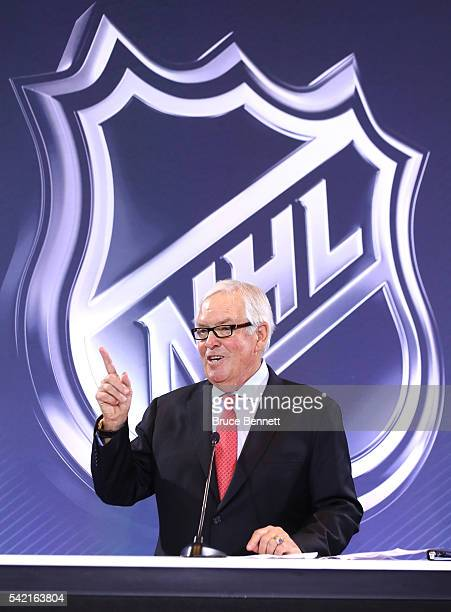 New Las Vegas NHL franchise owner Bill Foley addresses the media during the Board of Governors Press Conference prior to the 2016 NHL Awards at...
