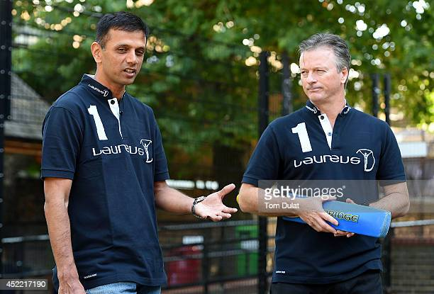 New Laureus Academy Member Rahul Dravid and Laureus Academy Member Steve Waugh answer questions during the Rahul Dravid Academy Announcement at...