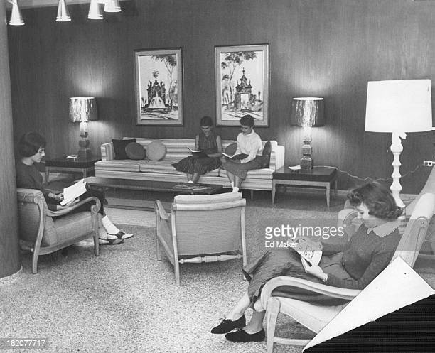 AUG 25 1958 SEP 3 1958 New Layout At Loretto Heights Main lounge of Marian Hall new student residence at Loretto Heights College features colorful...