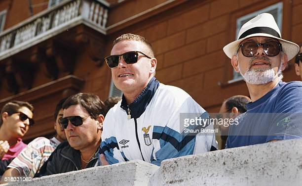 New Lazio signing Paul Gascoigne on his first trip to Rome after signing from Tottenham Hotspur with father John and agent Mel Stein in August 1991...