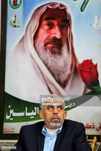 New leader of Hamas in Gaza, Yahya Es-Sinvar attends a commemoration ceremony held to mark the 13th death anniversary of founder of Hamas Sheikh...