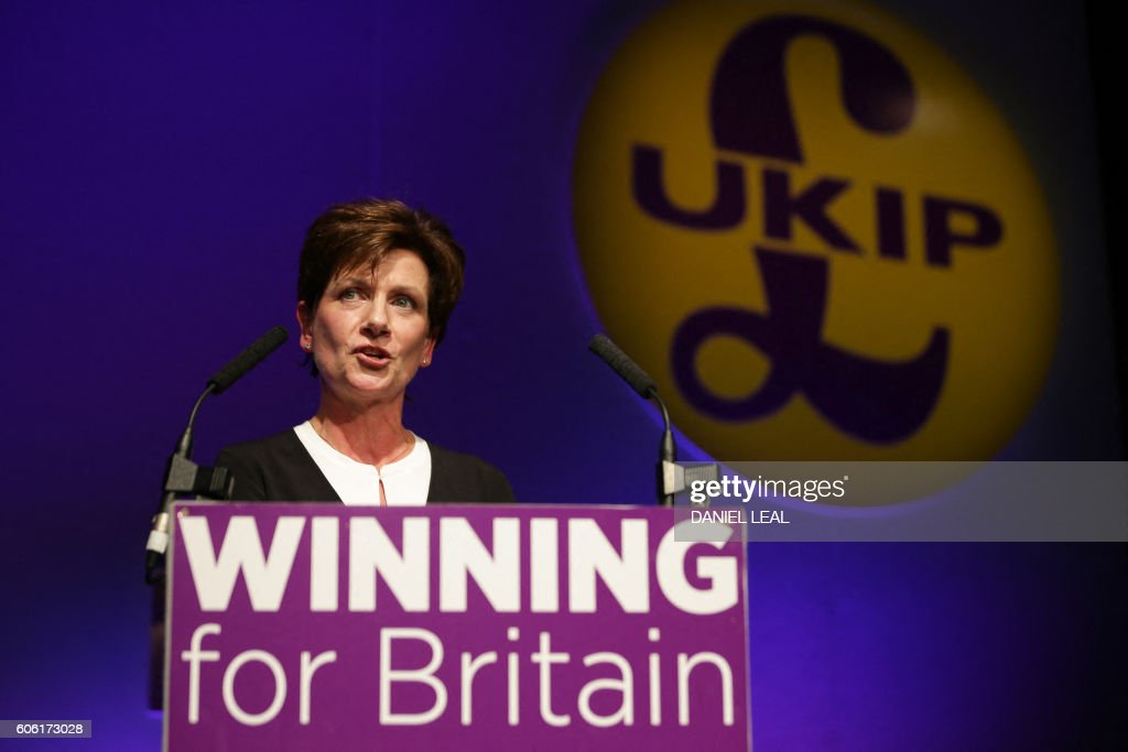 New leader of the anti-EU UK Independence Party (UKIP) Diane James gives an address at the UKIP Autumn Conference in Bournemouth, on the southern coast of England, on September 16, 2016. Diane James was announced as UKIP's new leader on September 16 to replace charismatic figurehead Nigel Farage. Farage made the shock decision to quit as leader of the UK Independence Party following victory in the referendum on Britain's membership of the European Union. / AFP / Daniel Leal-Olivas