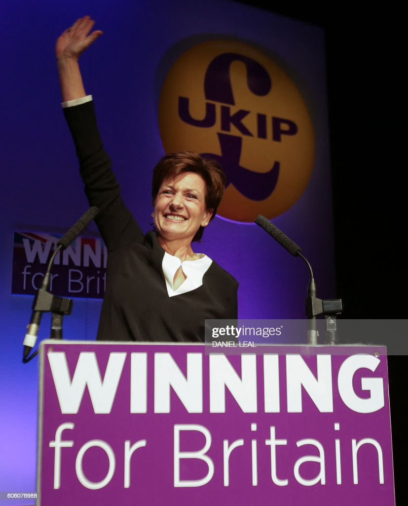 New leader of the anti-EU UK Independence Party (UKIP) Diane James waves as she is introduced at the UKIP Autumn Conference in Bournemouth, on the southern coast of England, on September 16, 2016. Diane James was announced as UKIP's new leader on September 16 to replace charismatic figurehead Nigel Farage. Farage made the shock decision to quit as leader of the UK Independence Party following victory in the referendum on Britain's membership of the European Union. OLIVAS