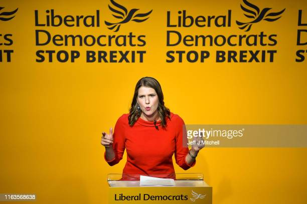 New leader of the Liberal Democrats Jo Swinson addresses the audience onstage at Proud Embankment on July 22 2019 in London England Former deputy Jo...