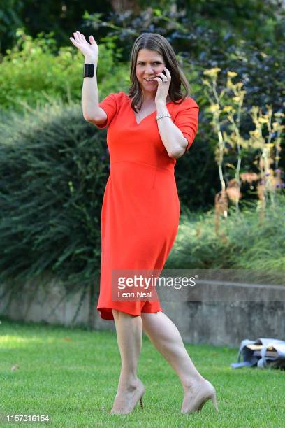 New leader of the Liberal Democrats Jo Swinson conducts an interview over the phone on Abingdon Green prior to the announcement of the new...