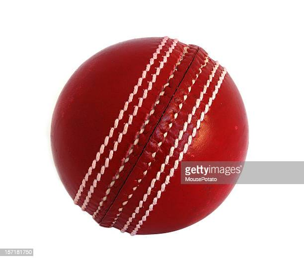 new leather cricket ball against white - cricket ball stock pictures, royalty-free photos & images