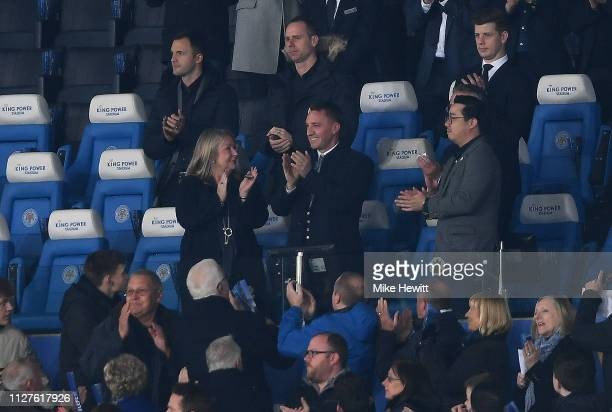 New Leicester City manager Brendan Rodgers is introduced to the crowd alongside Leicester City Chairman Aiyawatt Srivaddhanaprabha prior to the...