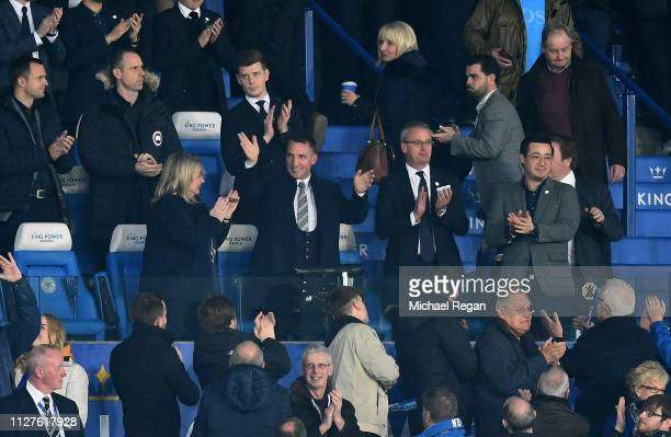 New Leicester City manager Brendan Rodgers is introduced to the crowd prior to the Premier League match between Leicester City and Brighton Hove...