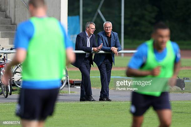 New Leicester City manager Claudio Ranieri watches his new team train for the first time alongside the club's Director of Football Jon Rudkin at...