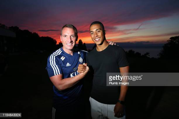 New Leicester City signing Youri Tielemans pictured with manager Brendan Rodgers joins up with his new team mates during Evian preseason on July 8...
