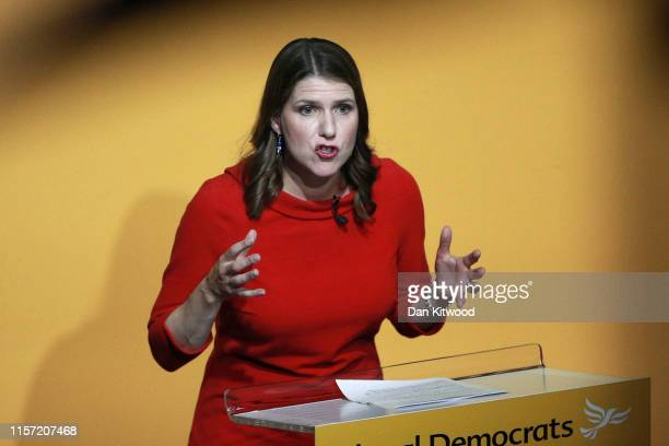 New Liberal Democrat leader Jo Swinson addresses the audience onstage at Proud Embankment on July 22 2019 in London England Former deputy Jo Swinson...