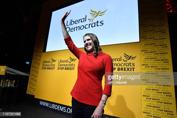 LONDON ENGLAND JULY 22 New Liberal Democrat leader Jo Swinson addresses the audience onstage at Proud Embankment on July 22 2019 in London England...