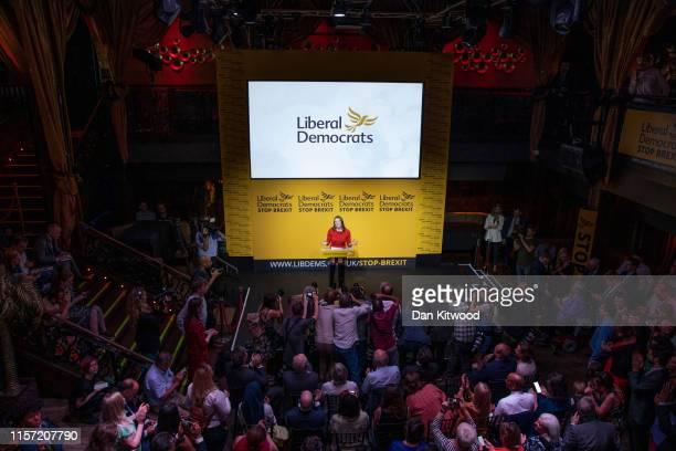 New Liberal Democrat leader Jo Swinson addresses the audience onstage at Proud Embankment on July 22 2019 in London England Former deputy Jo Swinson...