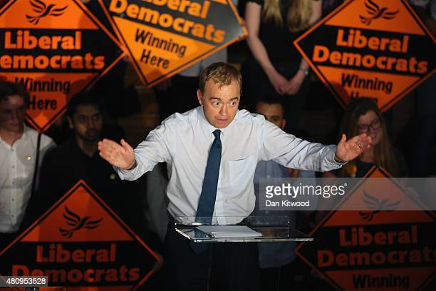 New Liberal Democrat Party Leader Tim Farron gestures as he gives a speech as he becomes the new leader of the party at Islington Assembly Hall on...
