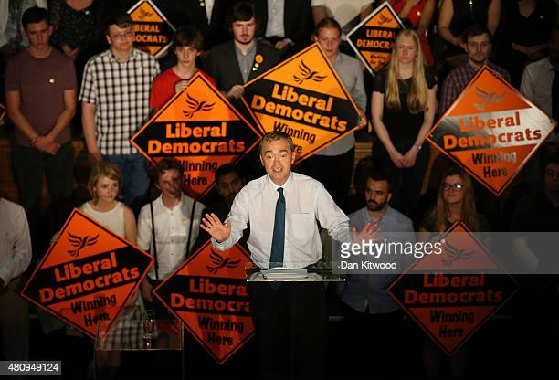 New Liberal Democrat Party Leader Tim Farron gives a speech as he becomes the new leader of the party at Islington Assembly Hall on July 16, 2015 in...