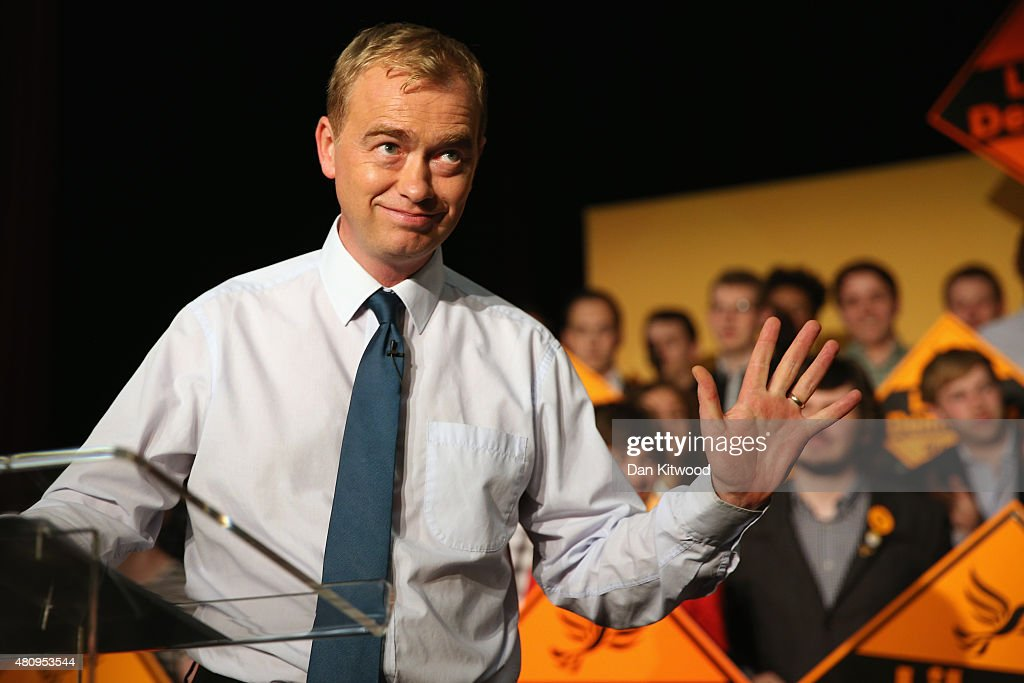 New Liberal Democrat Party Leader Tim Farron looks on as he gives a speech as he becomes the new leader of the party at Islington Assembly Hall on July 16, 2015 in London, England. Tim Farron, MP for Westmorland and Lonsdale, who was the former party president, will replace Nick Clegg after winning 56.5% of the votes.