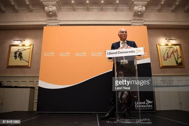 New Liberal Democrats party leader Vince Cable holds a press conference at the St Ermin's Hotel on July 20 2017 in London England The Liberal...