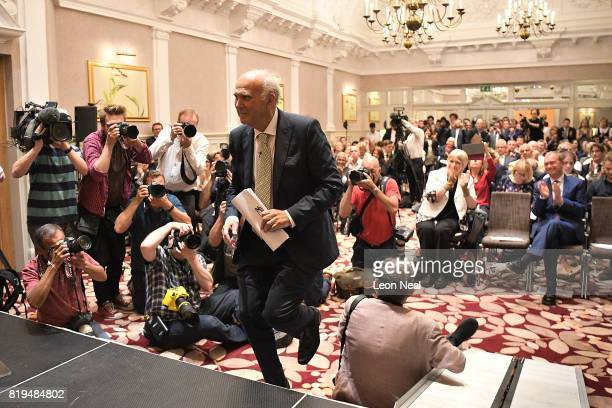 New Liberal Democrats party leader Vince Cable makes his way on stage to give a speech at a press conference at the St Ermin's Hotel on July 20 2017...