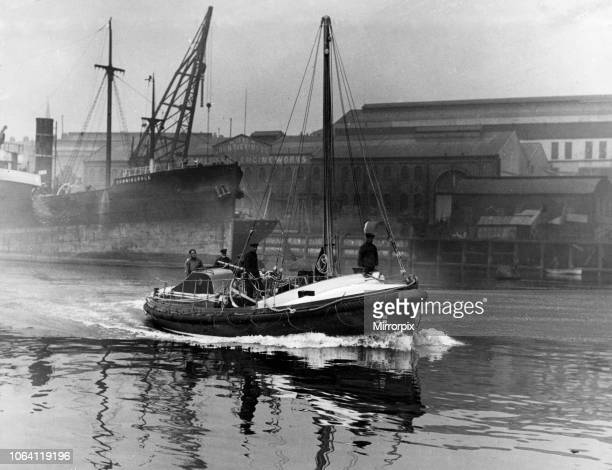 New lifeboat 'Milburn' for Holy Island leaves the River Wear 4th June 1925