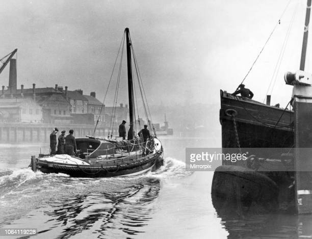 New lifeboat 'Milburn' for Holy Island leaves the River Wear at Sunderland She is 45 feet long by 125 feet and has an 80 hp engine 4th June 1925