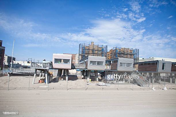New lifeguard stations are under construction at Rockaway Beach on October 26 2013 in the Queens borough of New York City Hurricane Sandy made...