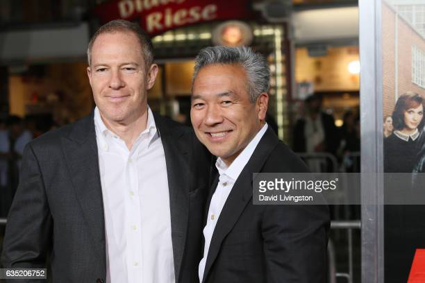 New Line Cinema President Toby Emmerich and Warner Brothers CEO Kevin Tsujihara attend the premiere of Warner Bros Pictures' 'Fist Fight' at Regency...