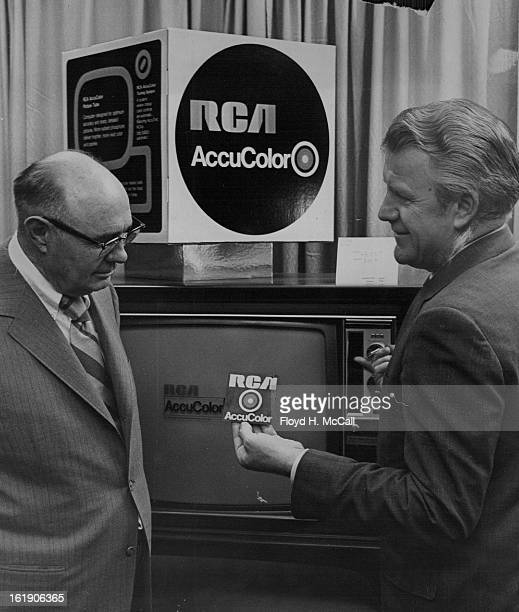 JUN 9 1970 JUN 15 1970 New line Unveiled Lou Mathis left owner of VidmarMathis Appliance TV of Pueblo gets a briefing on RCA's 1971 line of home...