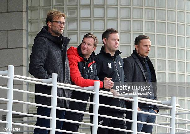 New Liverpool Manager Jurgen Klopp with Academy Director Alex Inglethorpe, U21 coach Michael Beale and First-Team Development Coach Pepijn Lijnders...