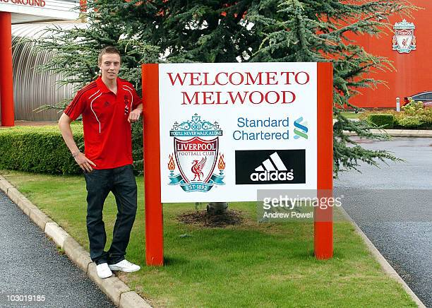 New Liverpool signing Danny Wilson of Liverpool poses for a photograph at Melwood training ground on July 21 2010 in Liverpool England