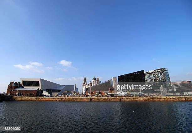 new liverpool skyline with museums - quayside stock photos and pictures