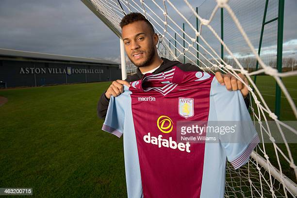 New loan signing Ryan Bertrand of Aston Villa poses for a picture at the club's training ground at Bodymoor Heath on January 17 2014 in Birmingham...