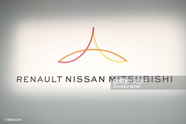 New logo showing Renault, Nissan and Mitsubishi is pictured ahead of a press conference at the Nissan headquarters in Yokohama, Kanagawa prefecture...