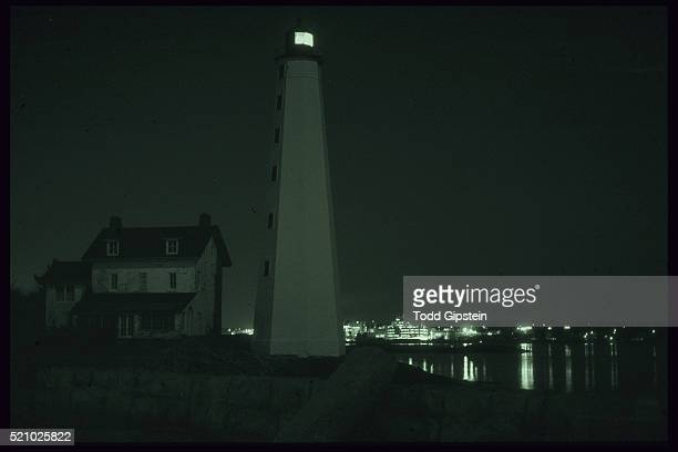 new london harbor lighthouse at night - gipstein stock pictures, royalty-free photos & images