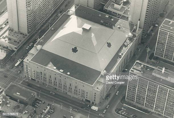 New look for Gardens Maple Leafs crusty owner Harold Ballard has put a new roof on his Carlton St cash box complete with four nifty Leaf logos...