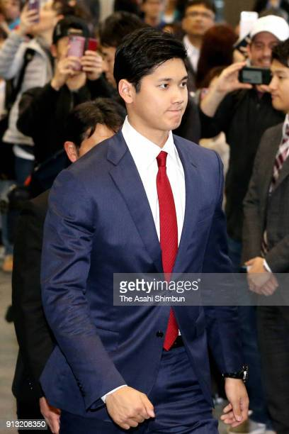 New Los Angeles Angels player Shohei Ohtani is seen on departure at Narita International Airport on February 1 2018 in Narita Chiba Japan