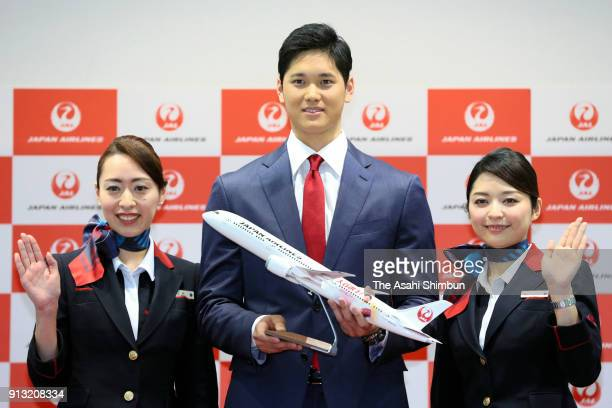 New Los Angeles Angels player Shohei Ohtani poses for photographs on departure at Narita International Airport on February 1 2018 in Narita Chiba...