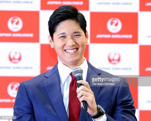 New Los Angeles Angels player Shohei Ohtani speaks during a press conference on departure at Narita International Airport on February 1 2018 in...