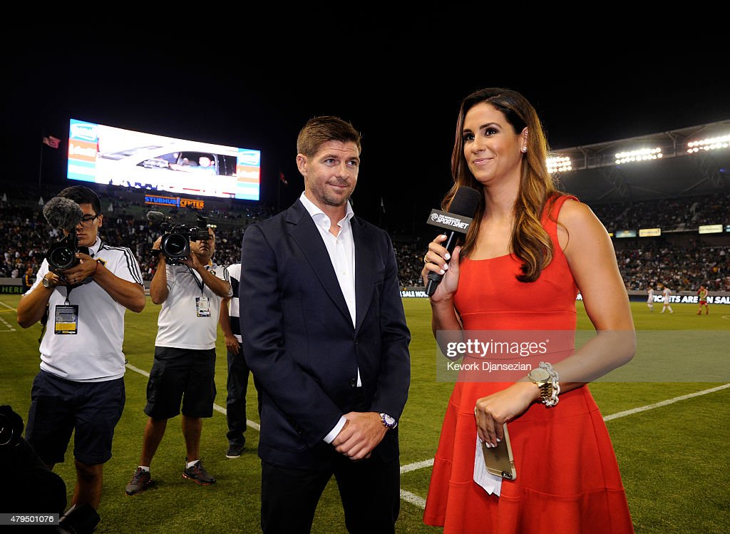 New Los Angeles Galaxy midfielder Steven Gerrard is introduced in front of fans during halftime against Toronto FC on July 4, 2015 at StubHub Center in Carson, California. The former Liverpool captain Steven Gerrard is scheduled to play his first MLS match on Friday, July 17 at StubHub Center against San Jose Earthquakes.