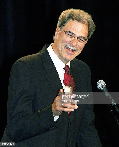 New Los Angeles Lakers coach Phil Jackson addresses the media during a press conference in Beverly Hills announcing his appointment as the Lakers...