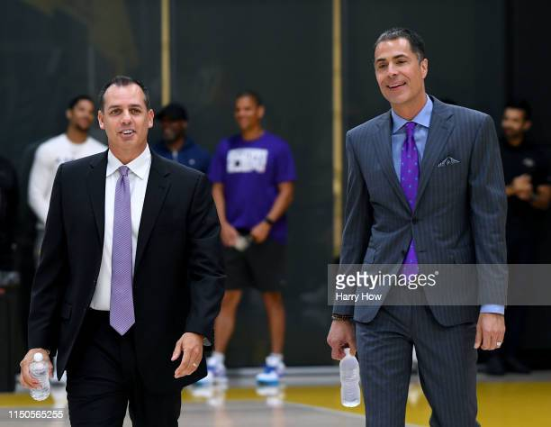 New Los Angeles Lakers head coach Frank Vogel smiles as he walks with Los Angeles Lakers General Manager Rob Pelinka to his press conference at UCLA...