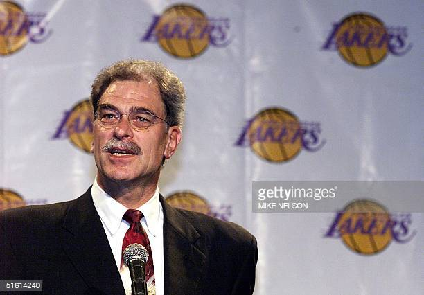 New Los Angeles Lakers head coach Phil Jackson addresses the media during a press conference in Beverly Hills announcing his appointment as the...