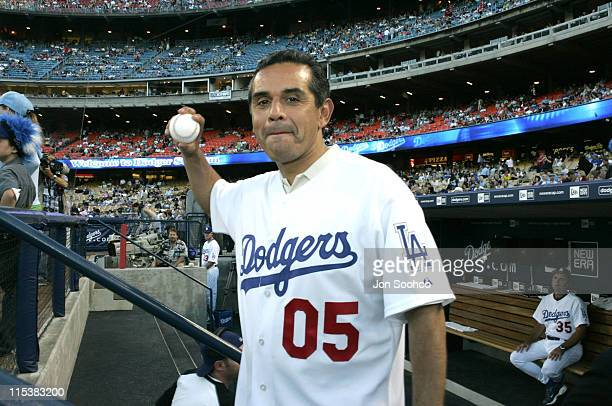 New Los Angeles Mayor Antonio Villaraigosa prior to throwing out the first pitch before the Los Angeles Angels vs Los Angeles vs Los Angeles Dodgers...