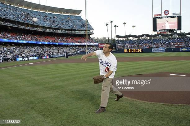New Los Angeles Mayor Antonio Villaraigosa throws out the ceremonial first pitch prior to the Los Angeles Angels vs Los Angeles Dodgers game at...