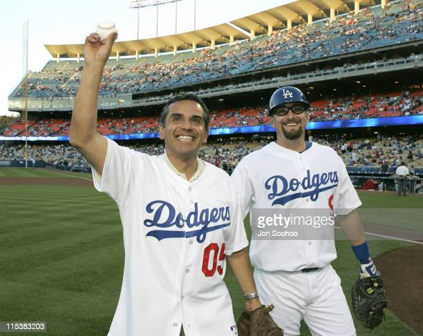New Los Angeles Mayor Antonio Villaraigosa throws out the ceremonial first pitch prior to throwing out the first pitch before the Los Angeles Angels...
