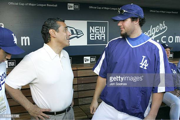 New Los Angeles Mayor Antonio Villaraigosa visits with Los Angeles Dodgers pitcher Eric Gagne prior to throwing out the first pitch before the Los...