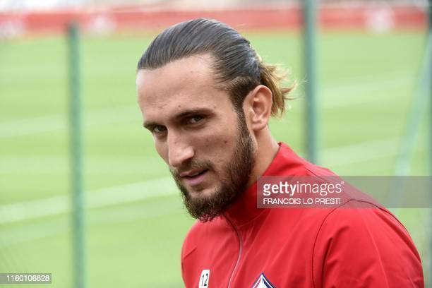 New Losc midfielder Yusuf Yazici looks on as he takes part in a training on August 7 at the training center of the Domaine de Luchin in Camphin en...