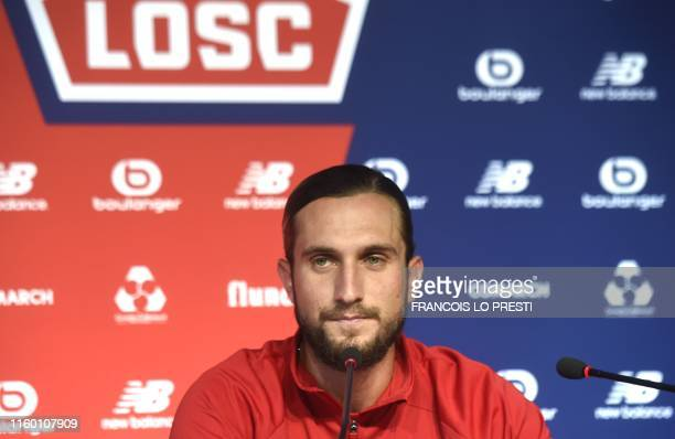 New Losc midfielder Yusuf Yazici looks on as he takes part in a press conference on August 7 at the Domaine de Luchin in Camphin en Pevele north of...