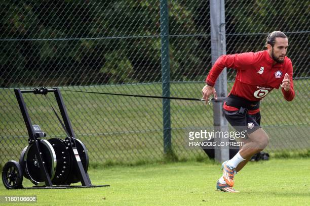 New Losc midfielder Yusuf Yazici takes part in a training on August 7 at the training center of the Domaine de Luchin in Camphin en Pevele north of...